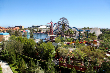 ANAHEIM, CALIFORNIA - August 4th, 2015 - Paradise Pier in Disneys California Adventure viewed from Disneys Grand Californian Hotel & Spa