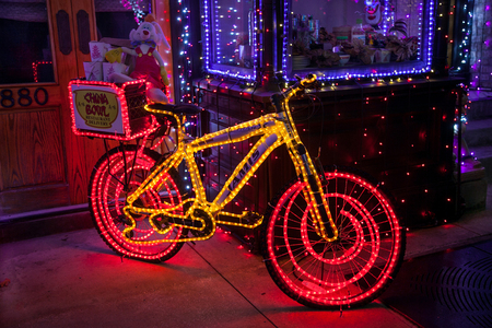 ORLANDO, FLORIDA - December 29th, 2013 - A bike with lights at the Osborne Family Spectacle of Dancing Lights at Disneys Hollywood Studios, Walt Disney World.