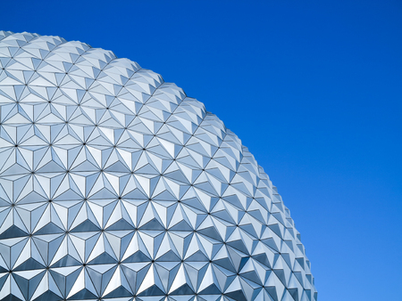 ORLANDO, FLORIDA - December 16th, 2015 - A close up of the Epcot Ball, Spaceship Earth, in Walt Disney World Editöryel