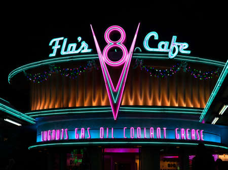 ANAHEIM, CALIFORNIA - November 25th, 2016 - Flo's V8 Cafe in Cars Land in California Adventure at the Disneyland Resort. Éditoriale