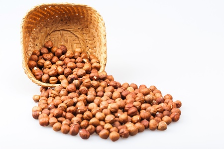 overturn: inverted basket with hazelnuts