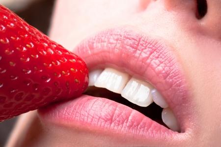 sensual lips: sensual lips and strawberry