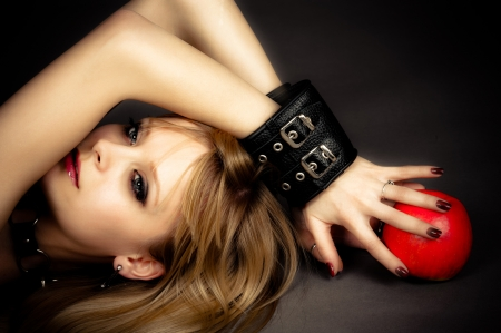 beautiful sexy girl in leather handcuffs photo
