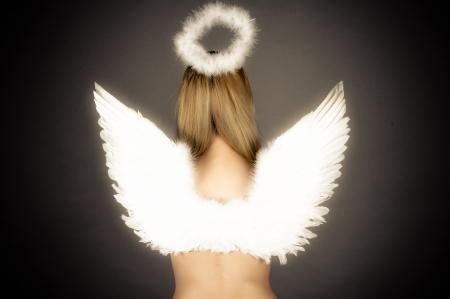 fille avec des ailes d'ange et nimbe Banque d'images - 20106944