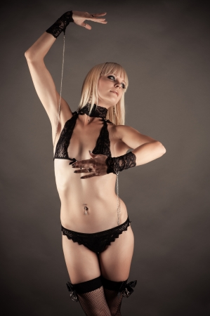 beautiful woman in the role of marionette dancing Stock Photo