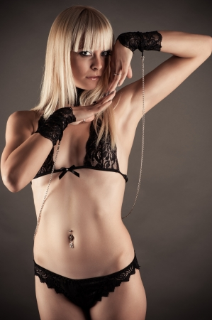 bdsm handcuff: beautiful sexy woman as a slave woman