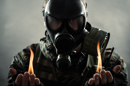 gas mask: man of the post nuclear future Stock Photo