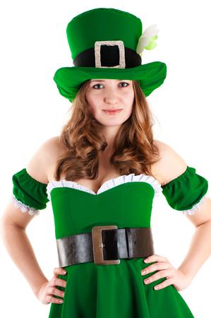 female leprechaun: woman dressed as leprechaun isolated on white background