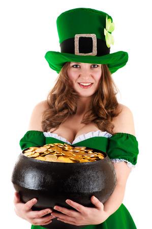 irish woman: woman dressed as leprechaun