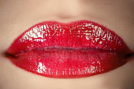 sensual lips closeup Banco de Imagens
