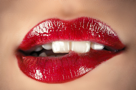 sensual lips closeup Stock Photo