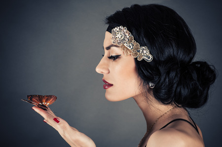 woman in retro style with beautiful makeup photo