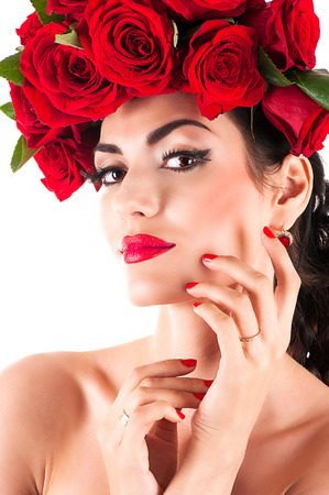beauty fashion model with red roses hairstyle photo