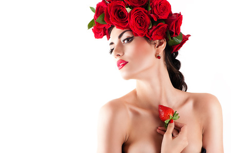 beautiful fashion model with red roses hairstyle photo