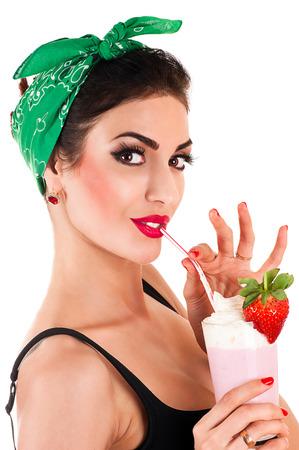 beautiful fashionable woman in retro style Zdjęcie Seryjne