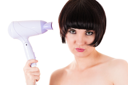 hairdryer: glamor beautiful woman holding a hairdryer