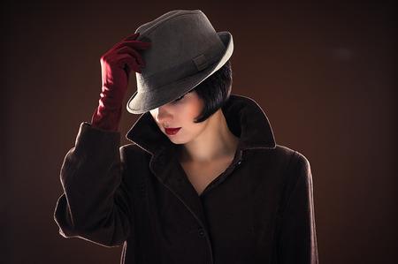 portrait beautiful fashionable woman detective Banco de Imagens