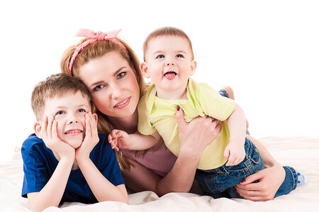 happy mother with two children photo