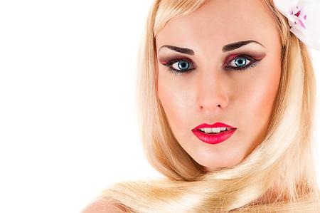 vrouw blond: portret van een mooie langharige blonde vrouw Stockfoto