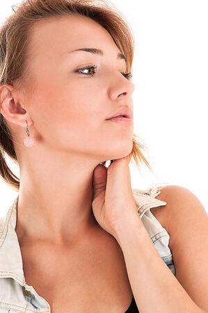 profile face: beautiful profile face woman in jeans jacket