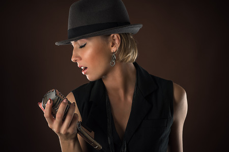 stylish woman with retro microphone