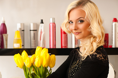 seductive woman in a beauty salon