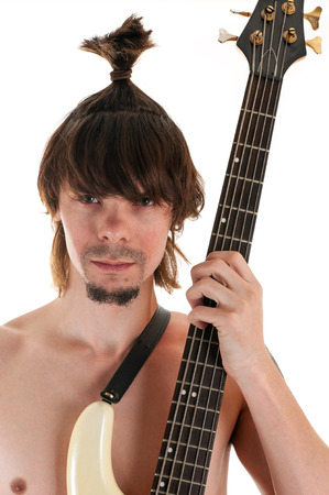 brunets: portrait man with funny haircut and guitar