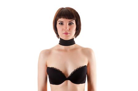 girl bra: beautiful woman in black bra Stock Photo