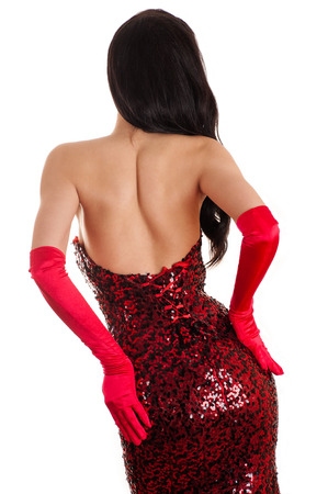 ass standing: attractive woman in a red dress is back