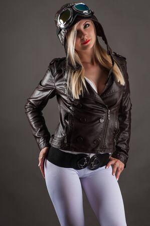 aviator: fashionable woman in aviator helmet Stock Photo