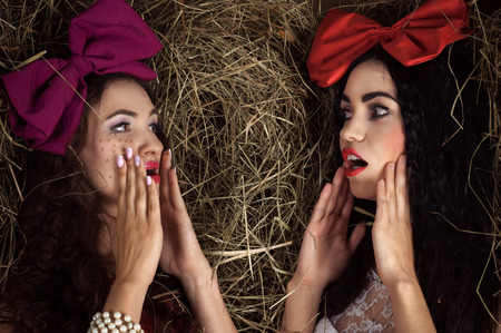 gossiping: two doll women gossiping on the background of hay Stock Photo