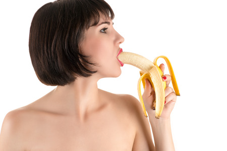 pasion: Mujer atractiva que come el pl�tano
