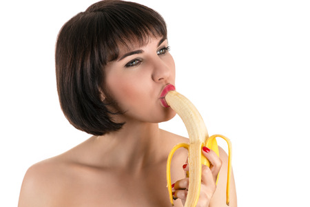 banana: beautiful sexy woman eating banana Stock Photo