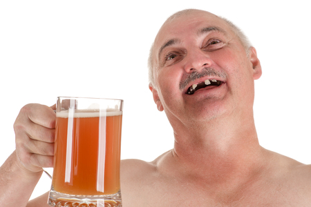 humorous portrait adult man with a beer in hand Stock Photo