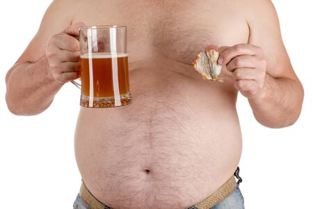 alcoholic man: man with a big belly with beer in hand