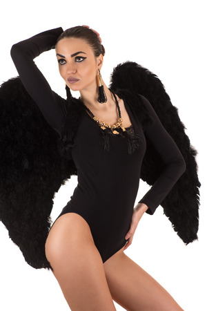 nude sexy woman: sexy woman with black wings in bodysuit