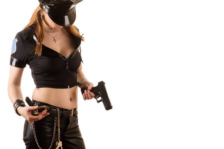 bdsm handcuff: beautiful police woman Stock Photo