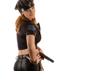 bdsm handcuff: emotional police woman in costume