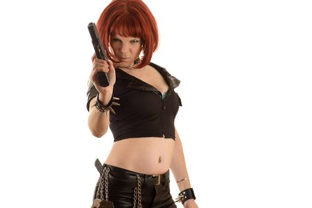 sexy woman with gun in hand
