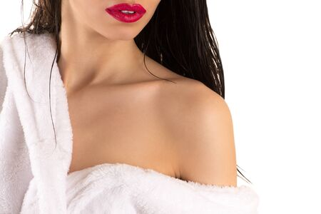 red bathrobe: sexy woman with red lips Stock Photo