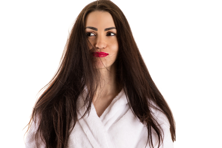 red bathrobe: attractive woman with long black hair