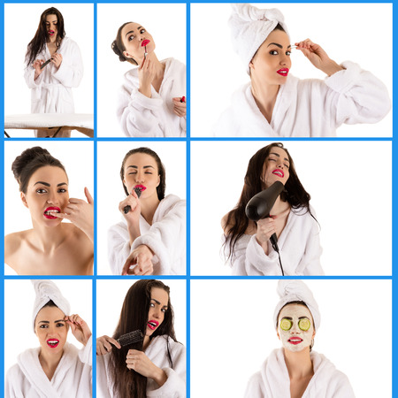 collage caras: Collage de cara a la mujer atractiva Foto de archivo