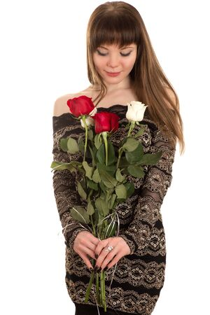 shy: shy young woman with a red rose Stock Photo