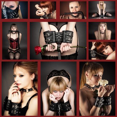 sexualidad: Collage de BDSM con la mujer hermosa con las manos esposadas
