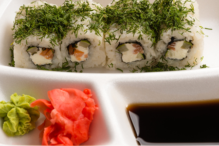 japanese cookery: sushi rolls with dill