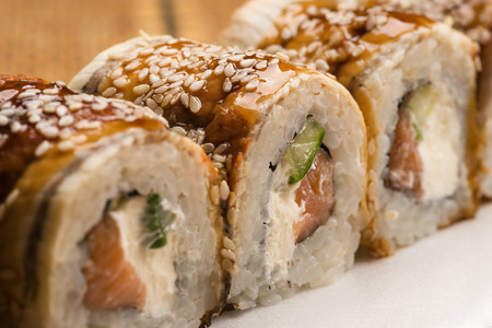 japanese cookery: delicious sushi rolls