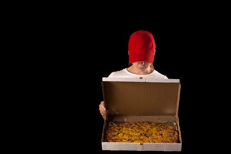 pizza box: attractive girl with pizza box