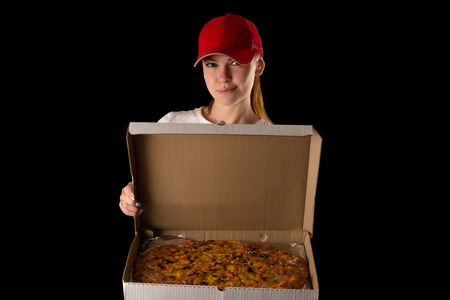 pizza box: young attractive girl with a pizza box