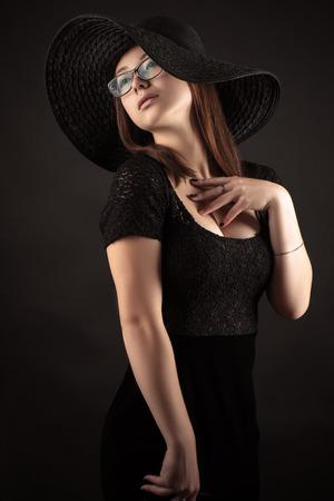 mixed race: elegant Mixed Race Korean Russian girl with black dress