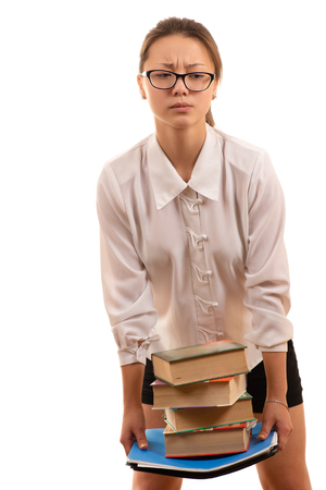 korean girl: Korean girl student holding textbooks in hands